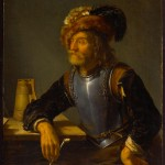 Portrait of an older man in a furry hat and armor holding a pipe.