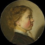 Profile painting of a young boy with light hair and flushed cheeks.