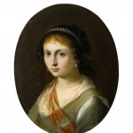 POrtrait of a young woman wearing pearls.